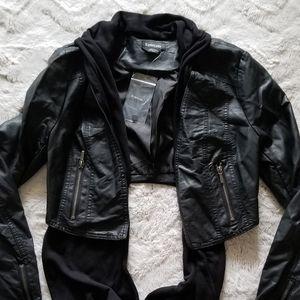 Bebe Removable Drape Front Open Crop Black Jacket